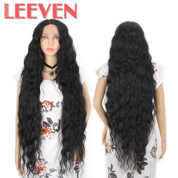 Leeven Synthetic Lace Front Wig Black Water Wave Wigs For Woman Long Hair Wigs Black Brown 613 Blonde Wig Cosplay Hair - DISCOUNT ITEM  48 OFF Hair Extensions & Wigs