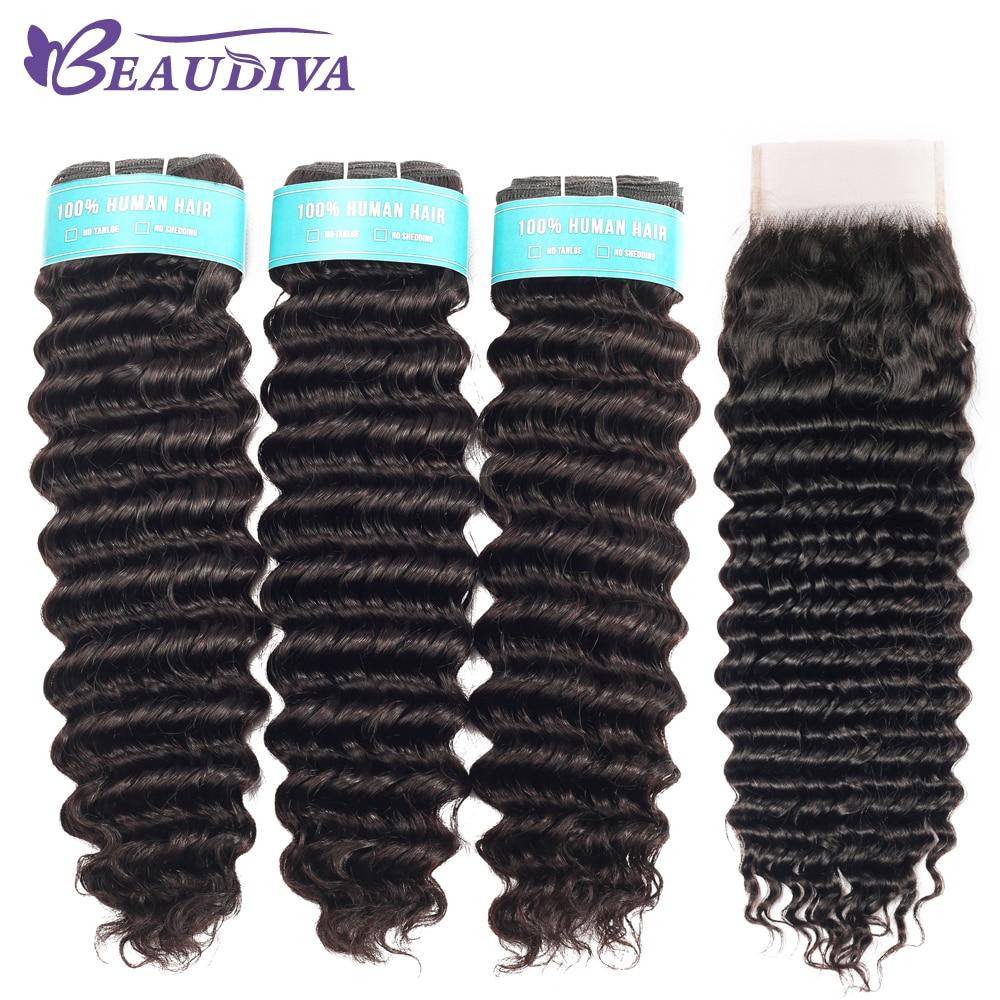 Brazilian Deep Wave Bundles With Closure Double Weft Remy Human Hair Weave 3 Bundles With Closure Natural Color
