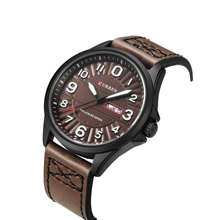 цена на CURREN Leather Band Military Watch Luminous Quartz Men Watch New Arrival Style Water Resistant Wrist Watches Date Week Display