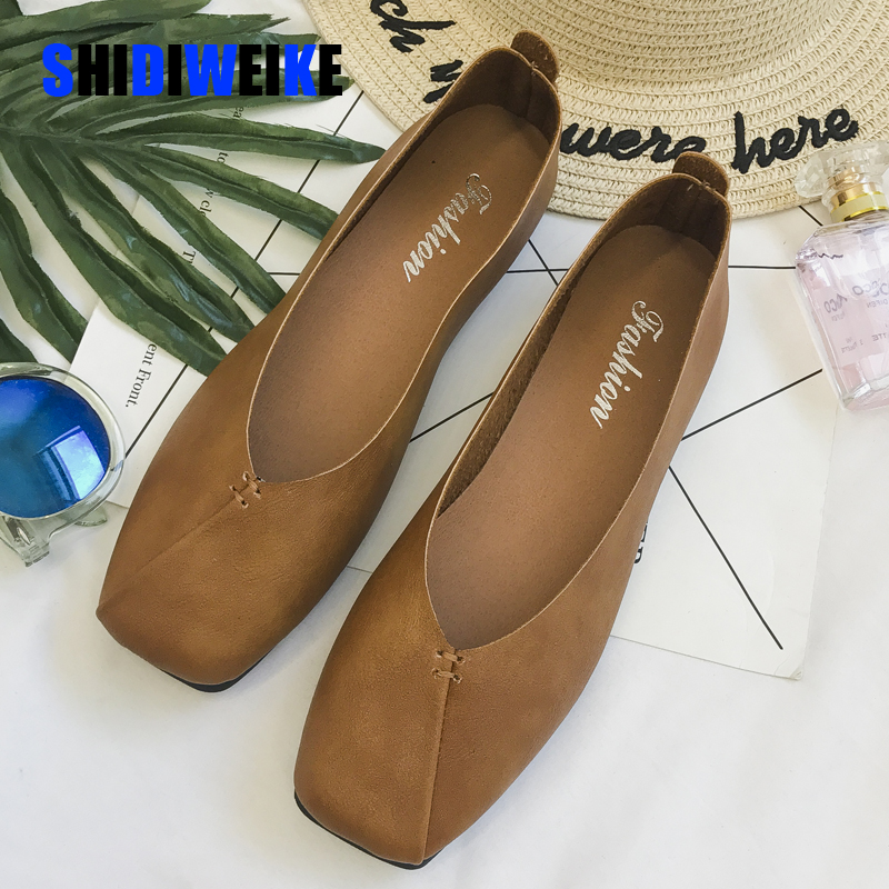 Women Ballet Flats Shoes PU Leather Slip On Ladies Shallow Moccasins Casual Shoes Female Summer Loafer Shoes Women AB041