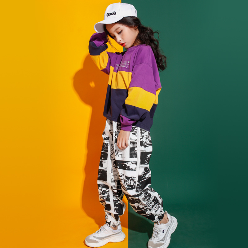 Children Jazz Hip-hop Dance Costumes Kids 2019 New Autumn Boys Girls Long Sleeve T-shirt Trousers Two Pieces Suit Stage Wear