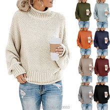 Womens Coltrui Oversized Truien Batwing Lange Mouw Trui Losse Chunky Knit Jumper(China)
