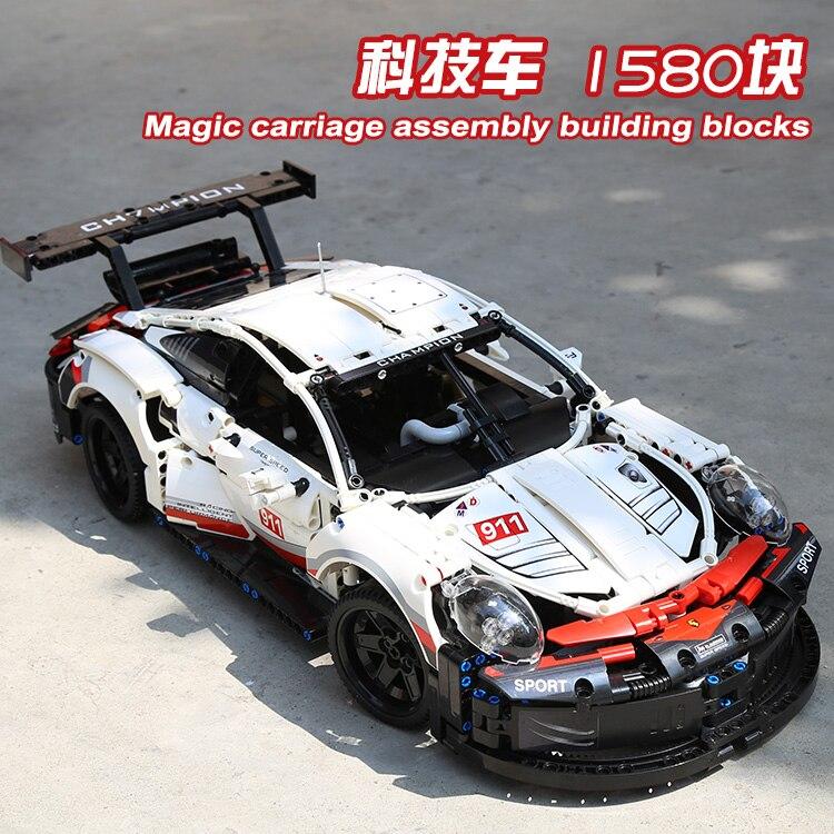 1580PCS Decool Technic Super Race Car Compatible Lepinlys Technic 42096 RC Car LED Lepinblocks Building Blocks Toys For Children