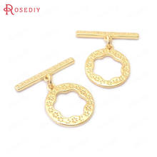 (38841)6 sets 24k gold color brass o toggle clasps bracelet
