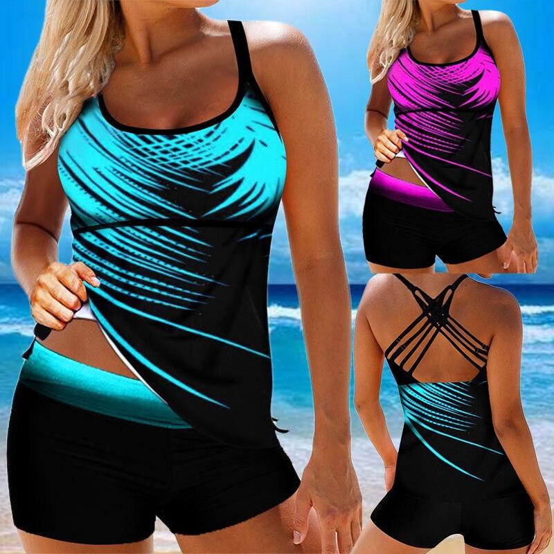 Women Swimwear Summer Beach Stripe Back Tie Backless Bathing Suit Tankini Shorts Swimming Suit Plus Size 8XL