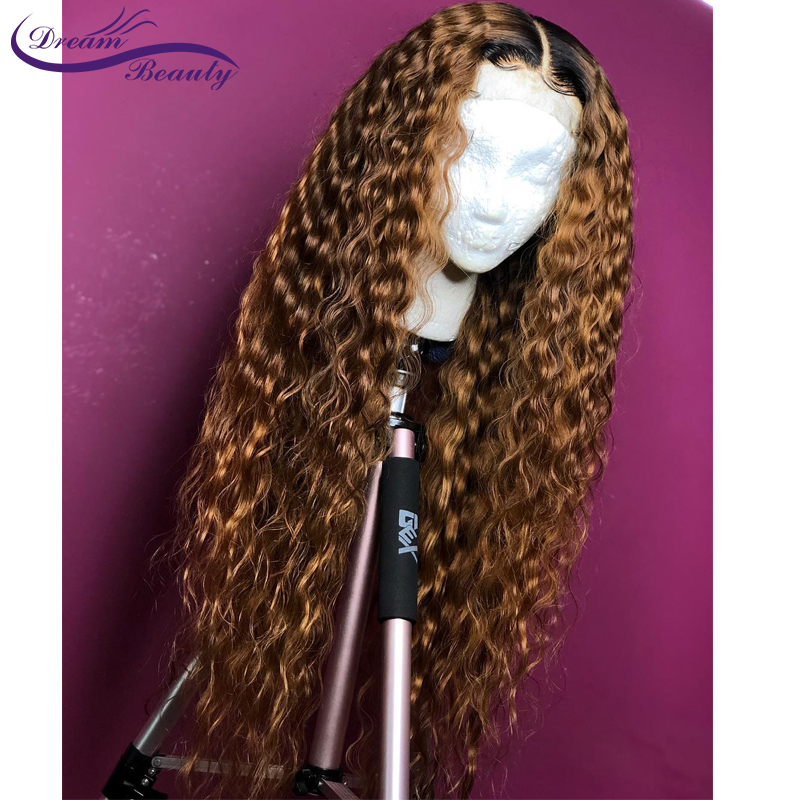 Ombre Blonde Curly Wig 13x4 Lace Front Human Hair Wigs Pre Plucked Ombre 1B/27 Color Brazilian Remy Hair Baby Hair Dream Beauty