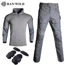 Uniforme militar roupas g3 terno tático camuflagem dos homens do exército dos eua roupas airsoft combate militar camisa + calças de carga joelheiras