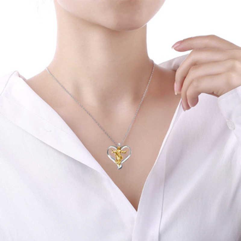 הנוצרי ישו תליון קסם תכשיטי זהב וכסף שני טון אהבת לב תליון שרשרת לנשים חתונה מתנה Z4P712