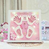 Modeling Clay Hand Foot Diy Baby Photo Frame LED Light Slime Handprint Footprints Colored Clay Souvenir Newborn Baby Plasticine