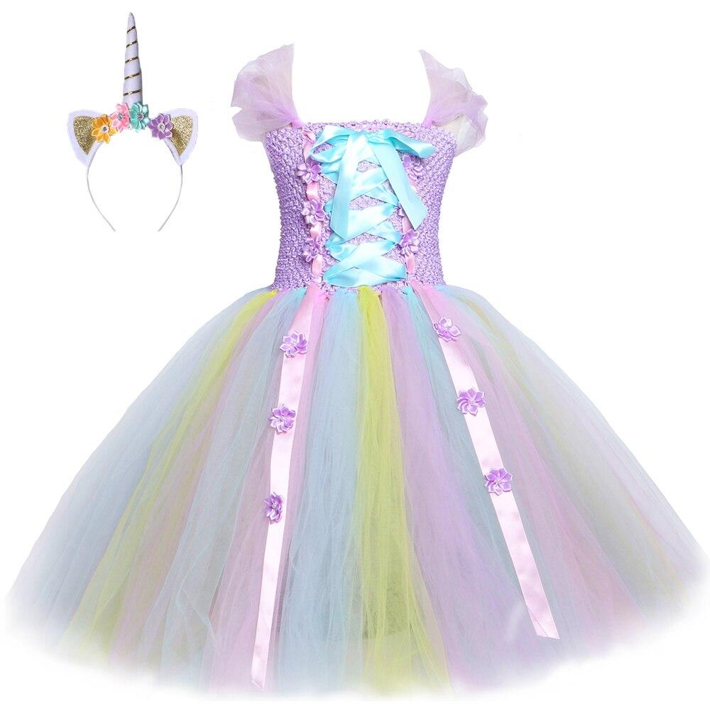 US $20.20 20% OFFLavendel Pastell Blume Einhorn Tutu Kleid Ankle Länge  Mädchen Geburtstag Party Kleid Prinzessin Mädchen Kinder Weihnachten  Halloween