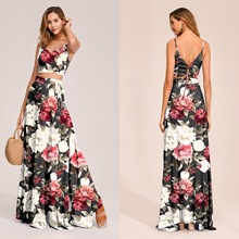 floral print summer dress 2piece set women holiday V-neck bohemian maxi Dress Two-Piece lace up split sexy womens dresses women floral print bohemian maxi dress gypsy wrap maxi dress vintage puff sleeve blossom boho maxi dress spell dress
