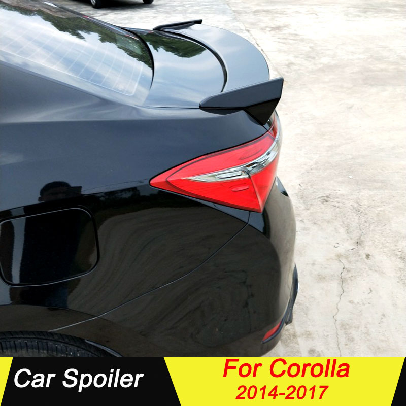 For <font><b>Toyota</b></font> <font><b>Corolla</b></font> 2014 <font><b>2015</b></font> 2016 2017 <font><b>Spoiler</b></font> ABS Plastic Primer Color Tail Wing Decoration Rear Trunk Lip <font><b>Spoiler</b></font> For <font><b>Corolla</b></font> image