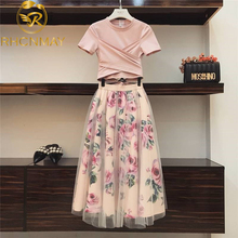 Women Irregular T Shirt+Mesh Skirts Suits Bowknot Solid Tops Vintage Floral Skir