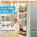 Многослойная бамбуковая регулируемая полка для холодильника  боковая стойка для холодильника  боковой держатель  кухонные принадлежности ...