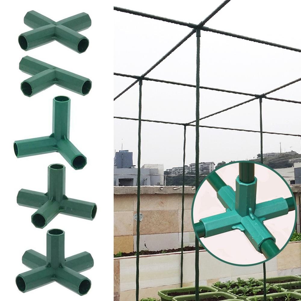 2 Pcs Greenhouse Frame Connector Plants Awning Pillar Connectors Climbing Plants Awning Pipe Pole Connecting Joints Garden Tools