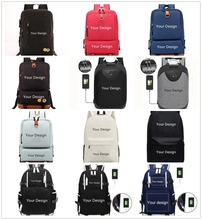 custom made Backpack Shoulder travel School Bag for teenagers Casual USB charge Waterproof Anti theft knapsack laptop bagpack