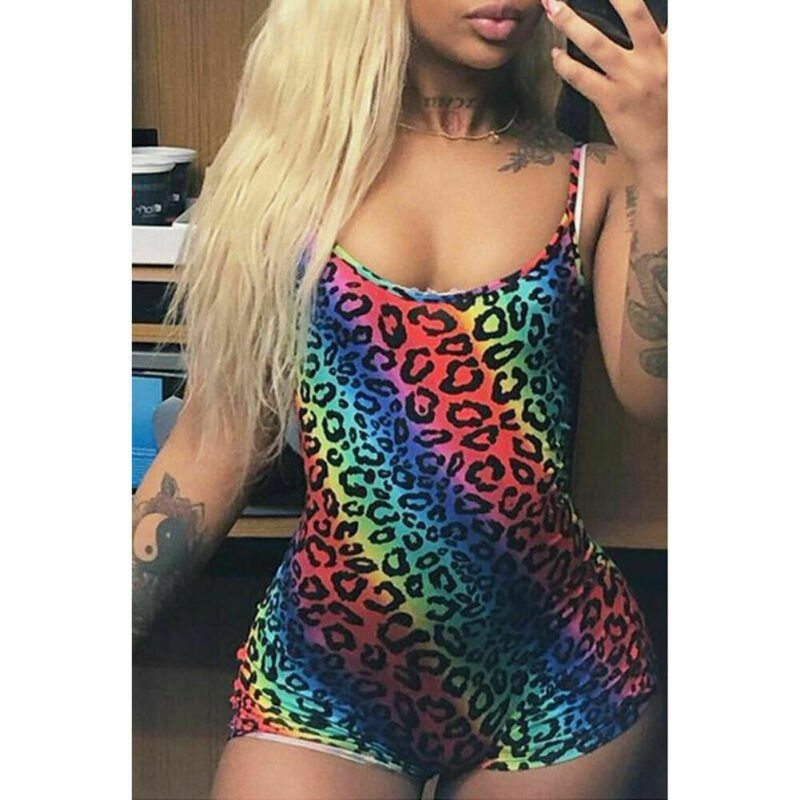Summer Womens Romper Shorts Jumpsuit Leopard Print Bodycon Strappy Playsuit  /BY
