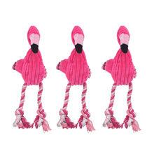 Limpieza de dientes juguete interactivo de dibujos animados Animal Flamingo de algodón en forma de perro de juguete de cuerda productos para entrenamiento de mascotas juguetes masticables para mascotas 1 Uds