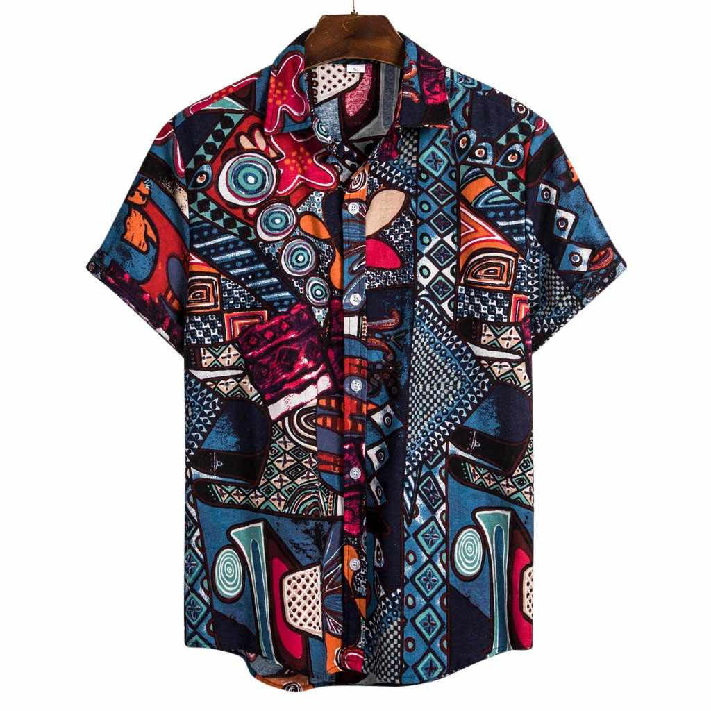 Wadonerful Vintage Tops Men V Neck Short Sleeve Retro Printed T-Shirt Summer Button Blouse Linen Tee Shirts