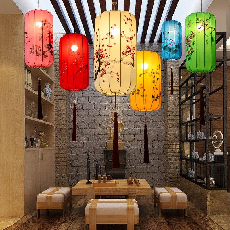 Hand Pinted Lmitating Classical Palace Lantern Restaurant Teahouse Creative Wax Gourd Long Cloth Hanging Lamp Chinese Lantern