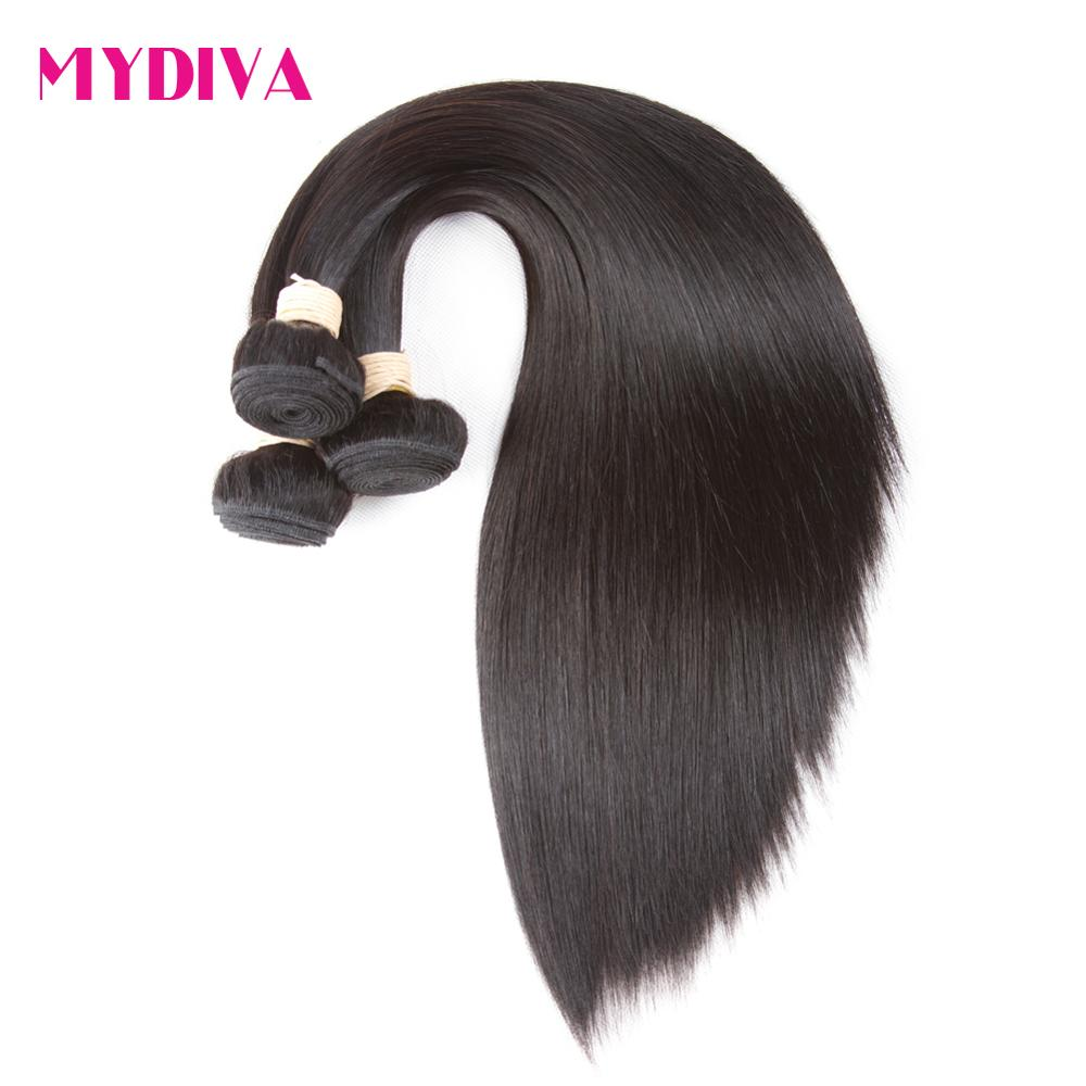 Mydiva 8-34 36 38 40 Inch Brazilian Hair Weave Bundles Straight 100% Human Hair 3/4 Bundles Natural Color Remy Hair Extensions 2