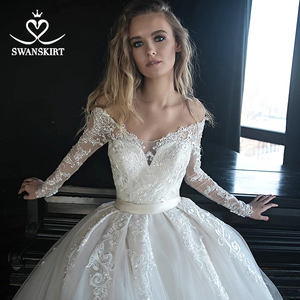 Image 3 - Vestido de novia de manga larga, encantador, ilusión de apliques, corte de encaje, tren, SWANSKIRT, HZ01