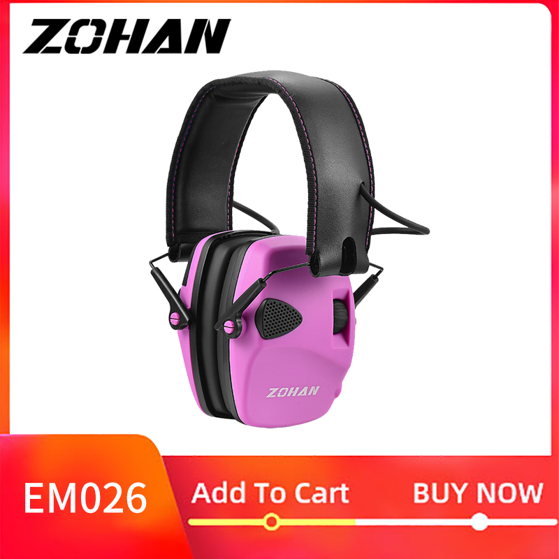 ZOHAN Electronic Shooting Ear Protection NRR22dB Sound Amplification Noise Reduction Ear Muffs Professional Ear Hunting Defender