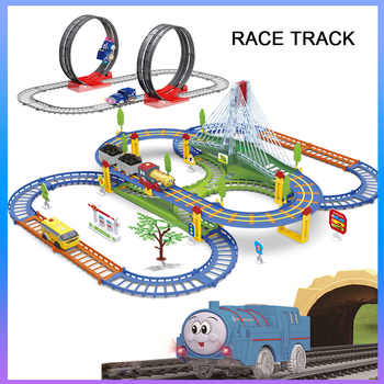 Railway Magical Racing Track Play Set Educational DIY Bend Flexible Race Track Electronic Flash Light Car Toys For children image