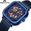 MEGALITH часы автоматические механические часы мужские водонепроницаемые lumnious синий сетчатый ремешок механические часы мужские relogio masculino 8202