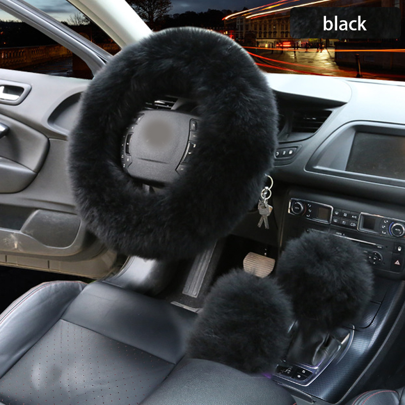 3pcs Car Artifical Wool Steering Wheel Winter Warm Plush Cover Cap Auto Steering Wheel Covers Protector