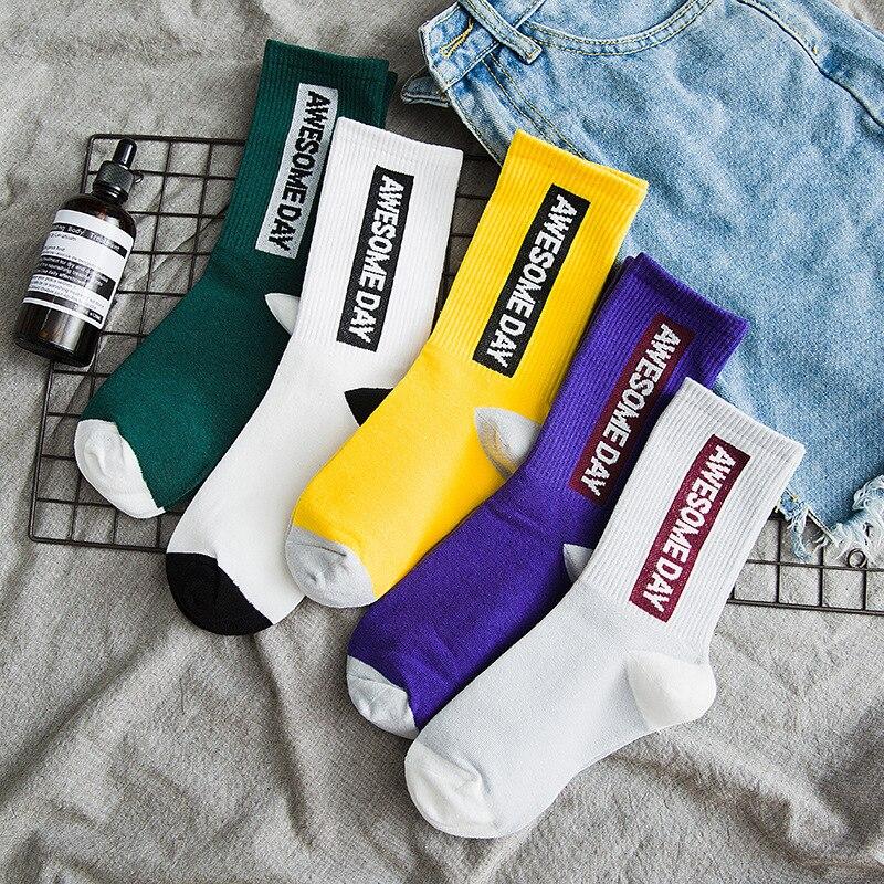 Fashion Men's Socks Awesome Day Personality Words Korean Girl Style Socks Meias Street Fashion Hip Hop Skateboard