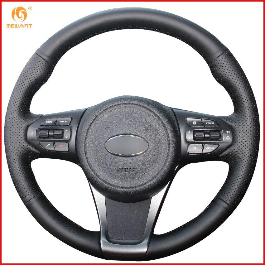 Simplemente lee de cuero genuino negro protector para volante de coche para Kia Sorento 2016-2018 Sedona Interior Accesorios