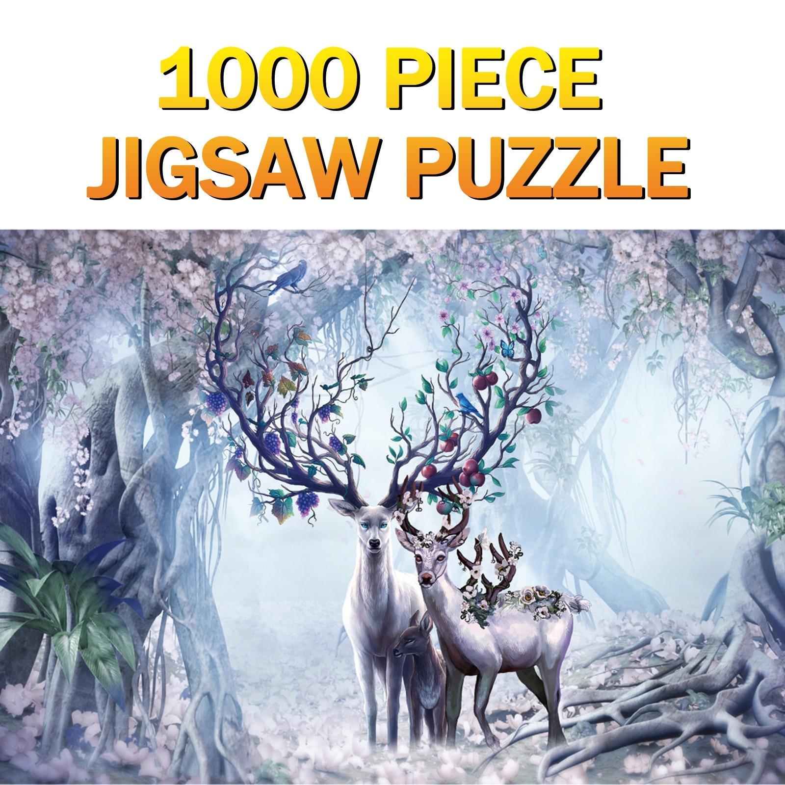 1000 elk padrão peça puzzle casa decoração presentes ntelligence desenvolvimento brinquedo educacional presente do feriado para crianças brinquedos