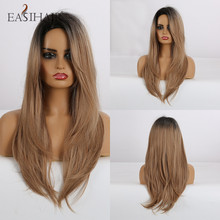 EASIHAIR Long Straight Black to Brown Ombre Synthetic Wigs for Women Natural Hair Wigs with Bangs Heat Resistant Cosplay Wigs