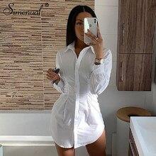 Simenual solidny biały kobiety koszula sukienka moda 2019 jesień z długim rękawem Sexy Mini sukienki Bodycon prosta wąska Ruched krótka sukienka