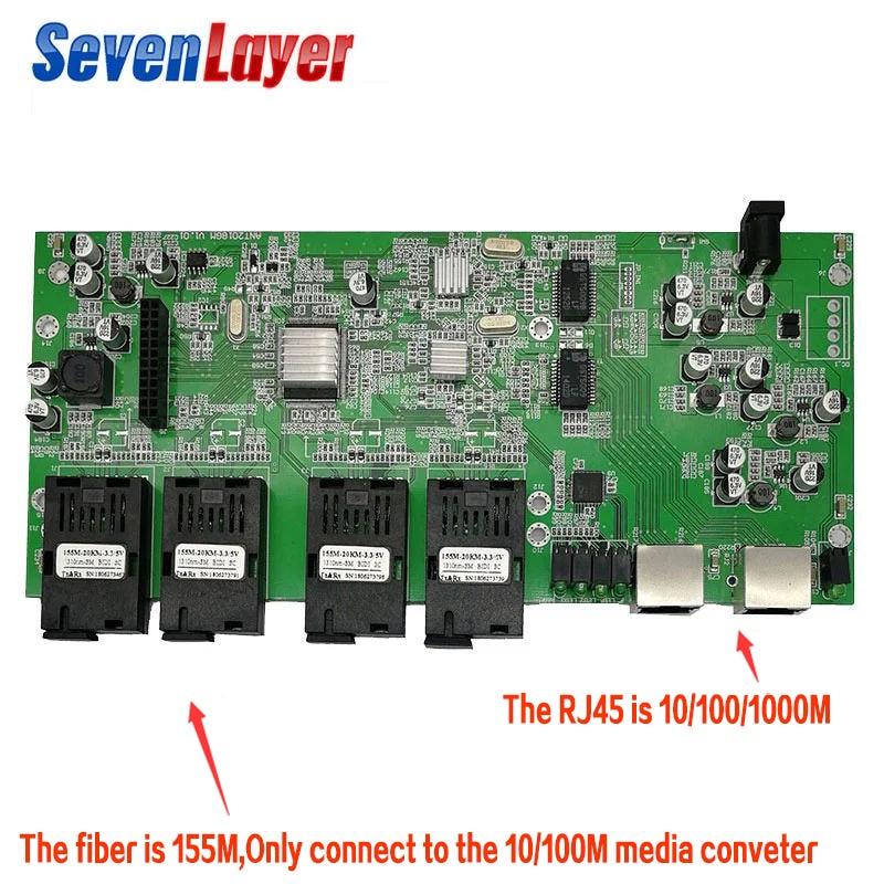 10/100/1000M Fiber Optical Switch Industrial Grade Gigabit Ethernet Switch 4*155M Fiber Port 2* RJ45 PCB Board 2 Pieces