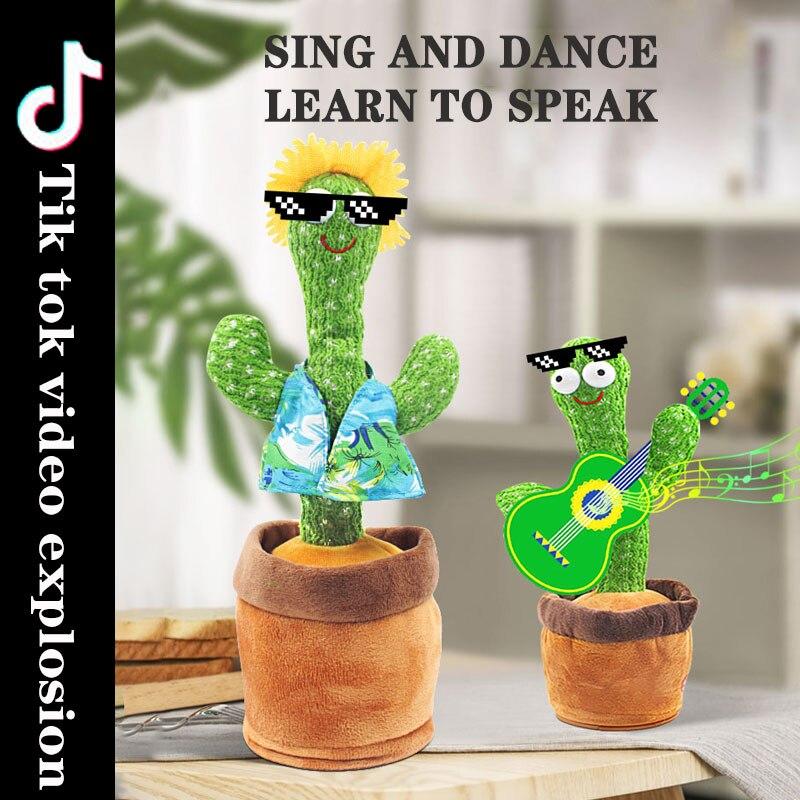 New Dancing Cactus PlushToys Sing Voice Interactive Electronic Soft Plush Doll  Decoration Gift Kids Funny Plush StuffedToys