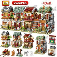LOZ 2266pcs Mini Building Blocks Mini Street City China Street Chinese Tradition Architecture Model Bricks Educational Kids Toys