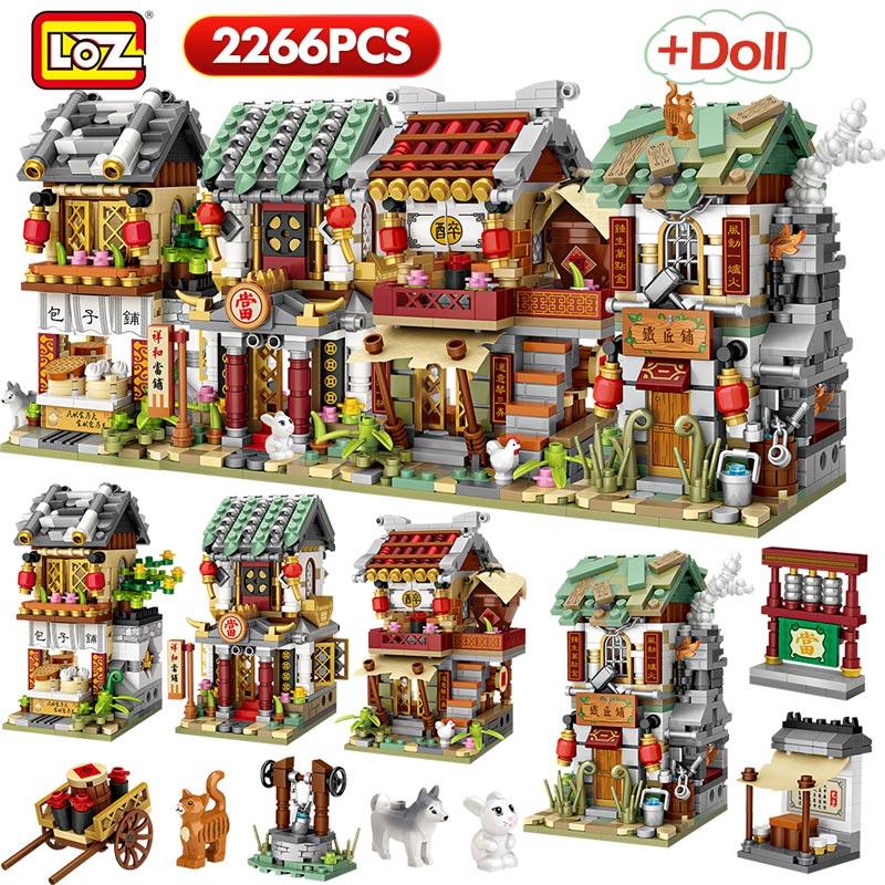 Loz 2266 pçs mini blocos de construção mini rua cidade china rua tradição chinesa arquitetura modelo tijolos educativos crianças brinquedos