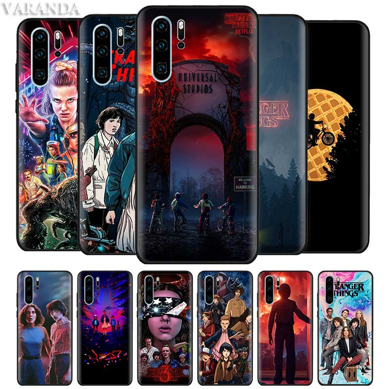 <font><b>Stranger</b></font> <font><b>Things</b></font> <font><b>Case</b></font> for <font><b>Huawei</b></font> P30 <font><b>P20</b></font> Pro P10 P9 <font><b>Lite</b></font> P Smart Plus 2019 Z Black Silicone Cover Coque Caso image