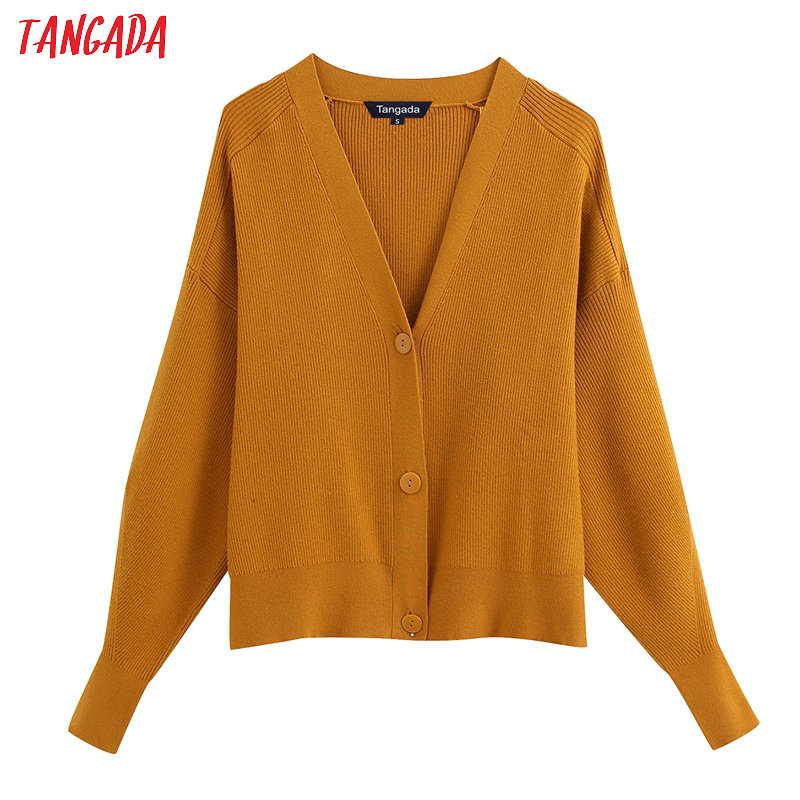 Tangada Women Elegant Solid Basic Cardigan Vintage Jumper Lady Fashion Work Knitted Cardigan Coat BE302