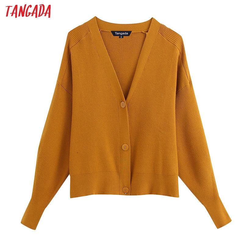 Tangada Women Elegant Solid Basic Cardigan Vintage Jumper Lady Fashion Work Knitted Cardigan Coat BE302
