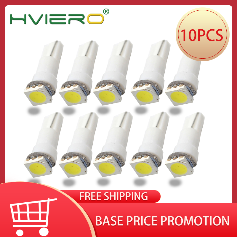 10X T5 5050 1SMD Auto Side Wedge Ceramic Dashboard Led White Red Blue Green Auto Light Interior Licence Plate Bulb DC 12V