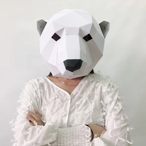Polar Bear DIY Mask Cosplay Christmas Costume  Adult Children Cardboard Breathable Halloween Ricky Funny Masks