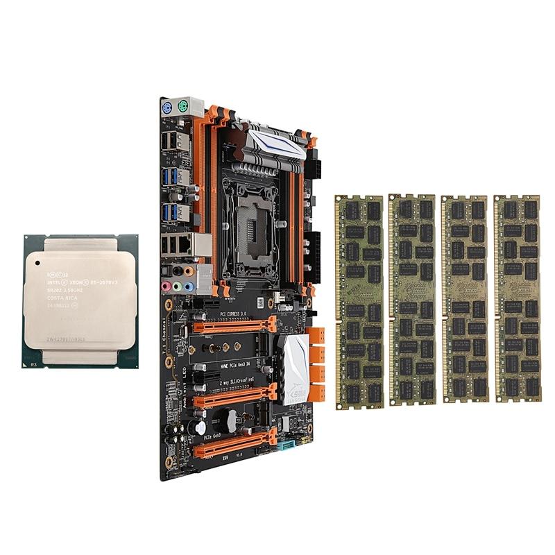 X99 LGA2011-V3 Motherboard Combo Set With E5 2678V3 CPU 4X16GB 64GB DDR3 RAM 4-Ch 1866Mhz REG ECC NGFF M.2 SSD Slot