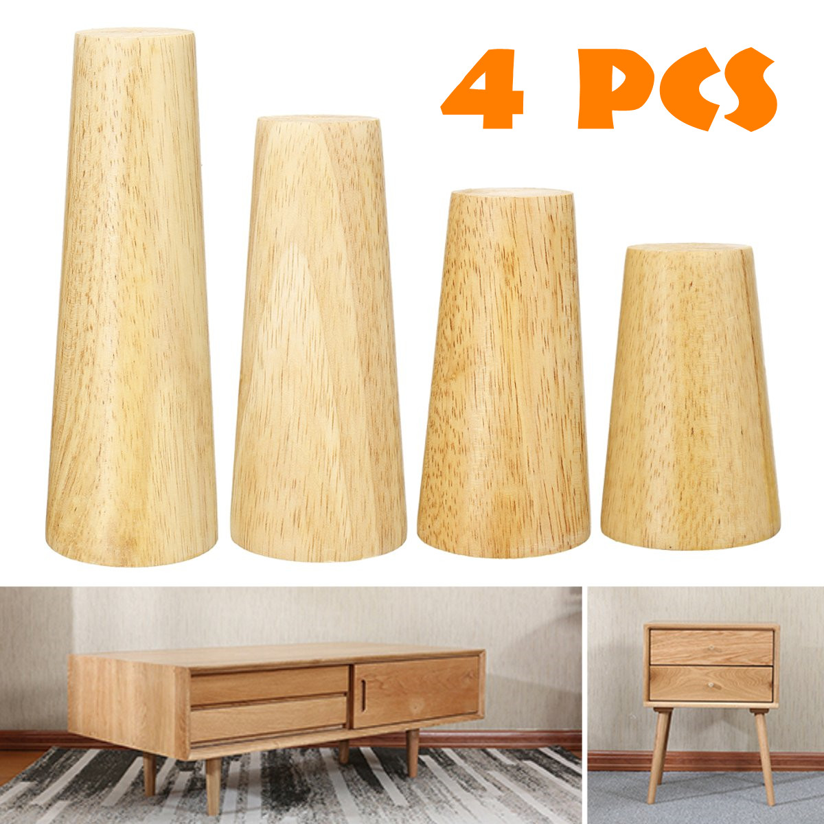 4pcs Solid Wooden Oblique Angle Sofa Legs Feet Coffee Table Furniture Legs With Anti-skid Pad Screws For Cabinets Tables 4 Size