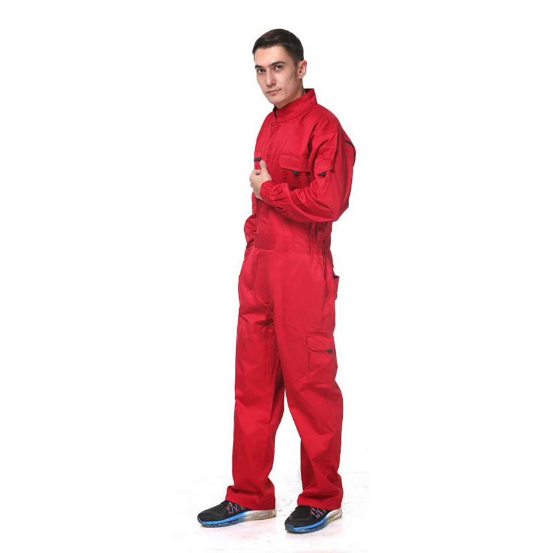 100% Cotton Red Working Coveralls Industrial Workwear Clothes Mechanic Overall For Men