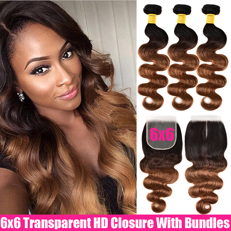 Ombre Malaysian Body Wave Human Hair 3/4 Bundles With Closure 6x6 Closure And Bundles Remy Transparent HD Closure With Bundles