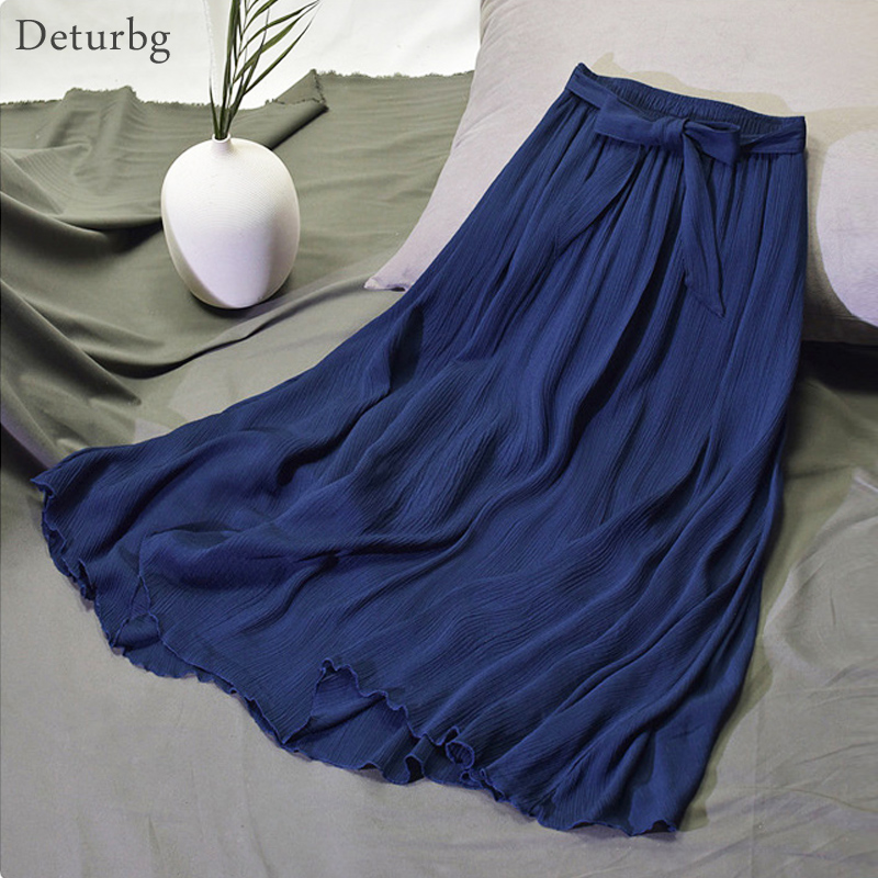 Womens Vintage Pleated Midi Long Skirt Ladies High Waist Bow Tied Cotton Linen Chic Skirts Jupe Faldas 2019 Spring Summer SK308