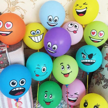 10pcs Cute Printed Big Eyes Smiling Face Latex Balloons For Birthday Party Decoration
